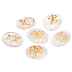 Wicca Symbolenstenen bergkristal set van 6