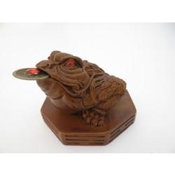 Feng Shui kikker bruin met geluksmuntje