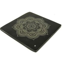 Wierookbrander zeepsteen zwart met Mandala