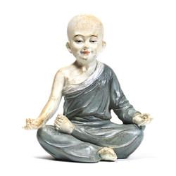 Yoga monnik beeldje ohm grijs