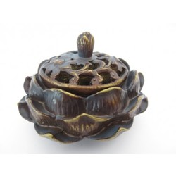Lotus wierook/kegelbrander bruin/goud