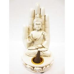 Wierookhouder Boeddha met hand wit middel