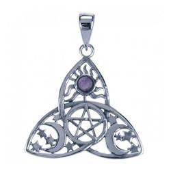 Symbool Hanger Pentagram in Triquetra Amethist