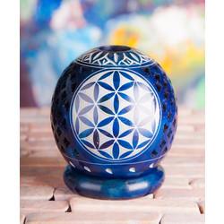 Theelicht blauw Flower of Life