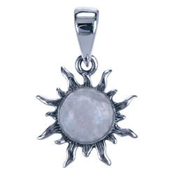 Zilveren hanger Maansteen Zon