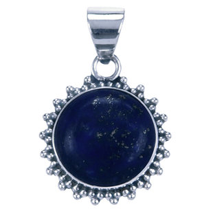 Zilveren hanger Lapis Lazuli rond