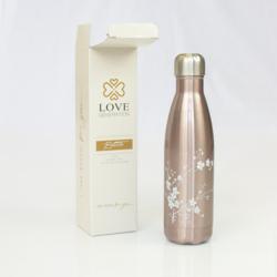 Waterfles Glossy Roségoud - witte bloesem