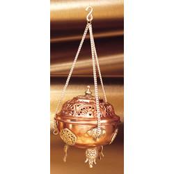 Dhoop brander hangend koper met ornamenten