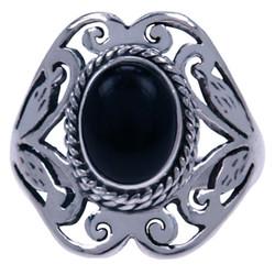 Zilveren ring Onyx