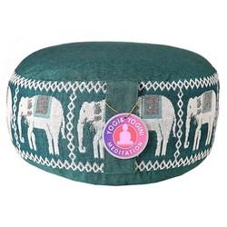 Meditatiekussen groen olifanten opdruk