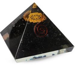 Orgoniet Piramide zwarte Toeramlijn, Sri Yantra 40mm