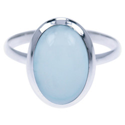 Zilveren ring Aqua Chalcedoon
