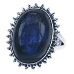 Zilveren ring Labradoriet kartel