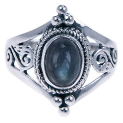 Zilveren Ring Labradoriet (4893l)