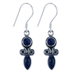 Zilveren oorbellen Lapis Lazuli (9860b)