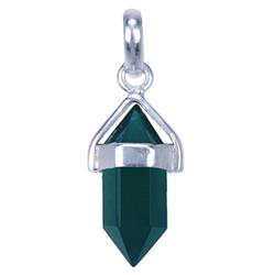 Zilveren hanger Groene Onyx Punt