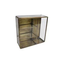 Vitrinekast vierkant goud glas 20x20x8,5cm
