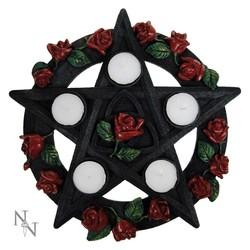 Theelichthouder pentagram met rozen