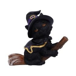 "Beeldje zwarte kat ""Tabitha"" op bezem 11cm"