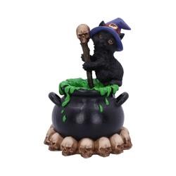 "Beeldje zwarte kat ""Spook"" bubbelende cauldron 12cm"