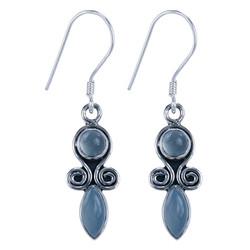 Zilveren oorbellen Aqua Chalcedoon
