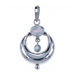 Zilveren hanger Maansteen