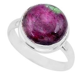 Zilveren ring Robijn met Zoisiet