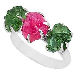 Zilveren ring Robijn met Groene Apatiet