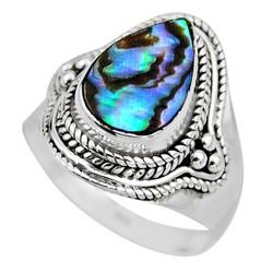 Zilveren ring Abalone Schelp