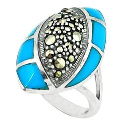 Zilveren ring Turkoois met Markasiet