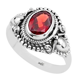 Zilveren ring Granaat