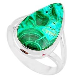 Zilveren ring Malachiet in Chrysocolla