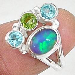 Zilveren ring Opaal met Peridoot en Topaas