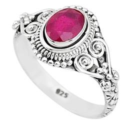 Zilveren ring Robijn