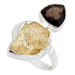Zilveren ring Scapoliet met Rooktopaas