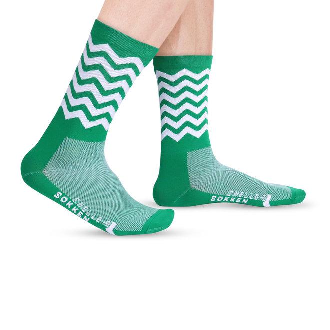 Fietssokken - Wave print - Groen