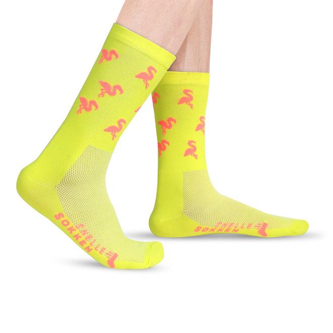 Fietssokken - Flamingo print - Neon geel