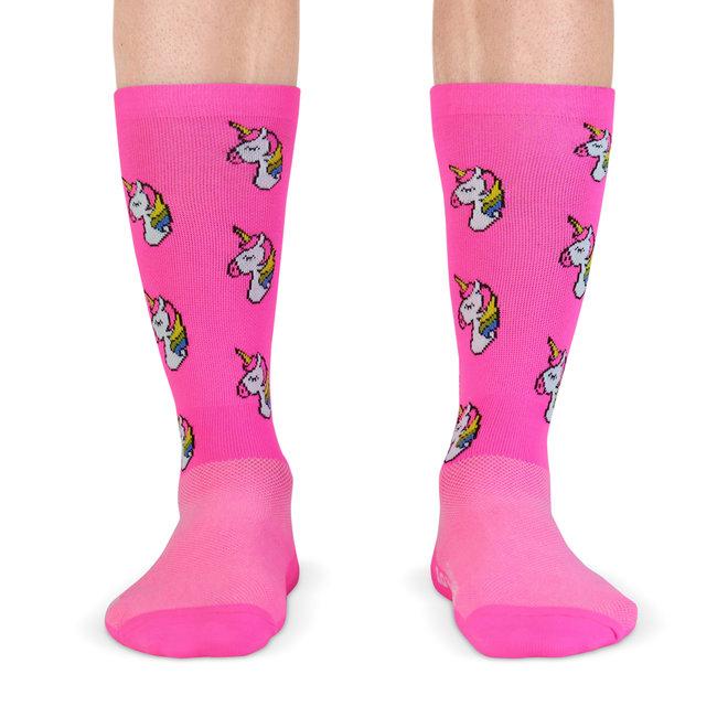 Fietssokken - unicorn print - roze