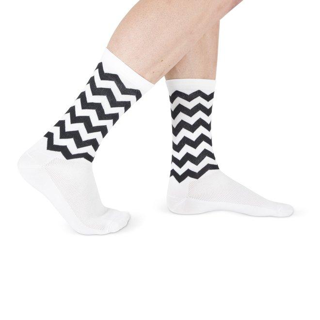 Fietssokken - Wave print - Wit/Zwart