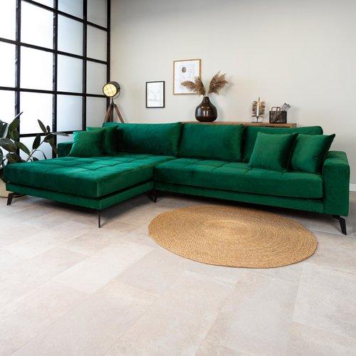 Brooks Ecksofa Industrial 3-Sitzer Samt Grün Links