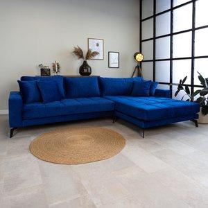 Brooks Ecksofa Industrial 3-Sitzer Samt Blau Rechts