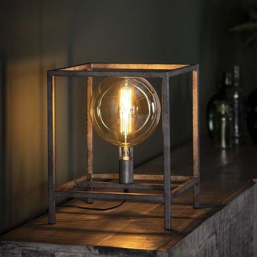 Huge Tischlampe Industrial Altsilber