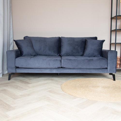 Brooks Sofa Industrial 3-Sitzer Samt Anthrazit