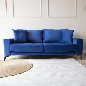 Brooks Sofa Industrial 2,5-Sitzer Samt Blau