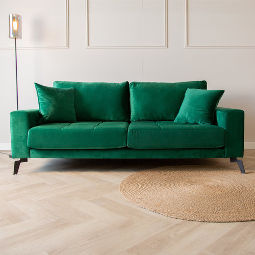 Brooks Sofa Industrial 2,5-Sitzer Samt Grün