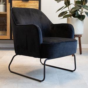 Kristie Sessel Industrial Samt Schwarz