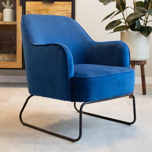 Kristie Sessel Industrial Samt Blau