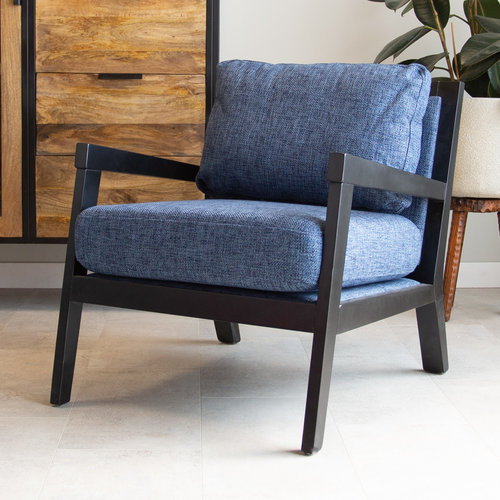 Morris Sessel Industrial Stoff Blau