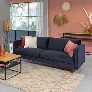 Brooklyn Sofa Industrial 3-Sitzer Samt Blau
