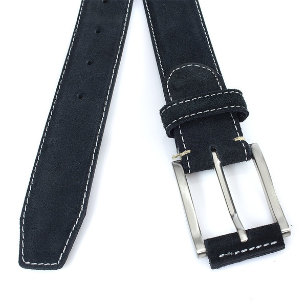 JV Belts Zwarte suède riem